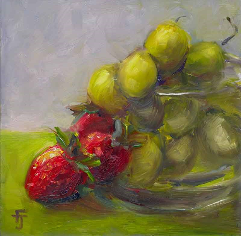 """Last of the Strawberries"" original fine art by Francine Dufour~Jones"