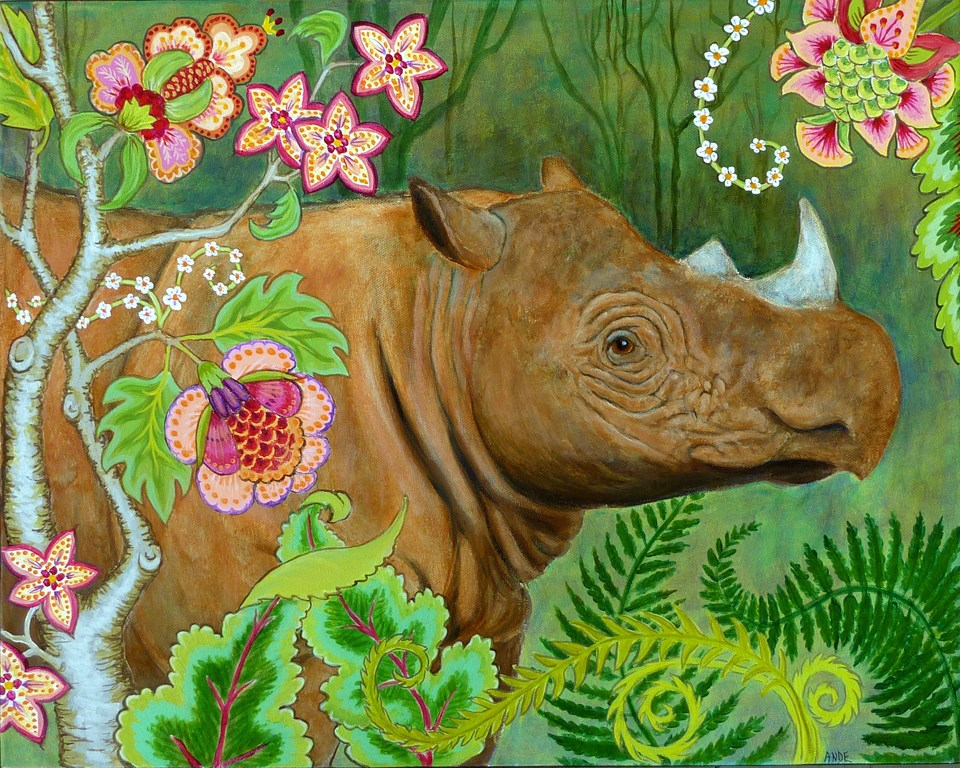 """Sumatran Rhino"" original fine art by Ande Hall"