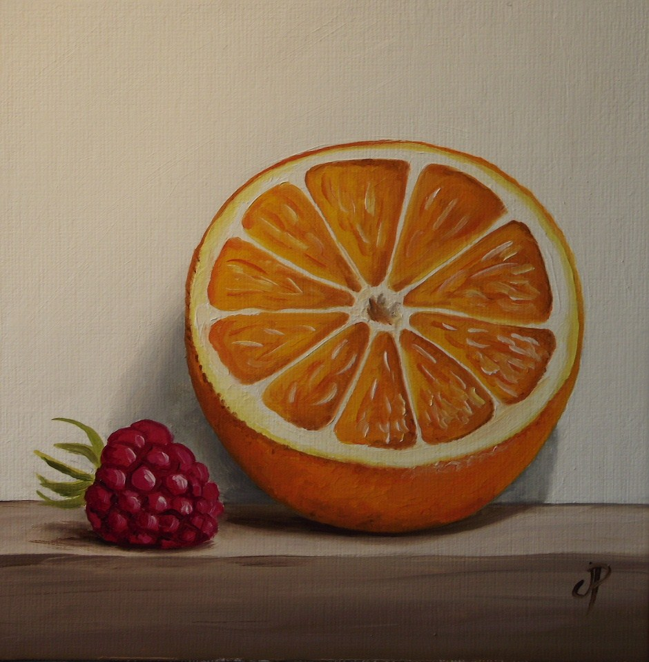 """Orange and Raspberry"" original fine art by Jane Palmer"