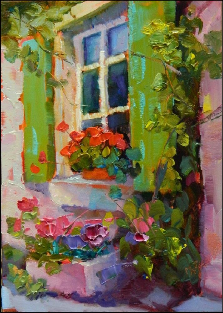"""Green Shutters, 5x7, oil on gessoboard, by Maryanne Jacobsen, painitngs of France, shutters, doorw"" original fine art by Maryanne Jacobsen"