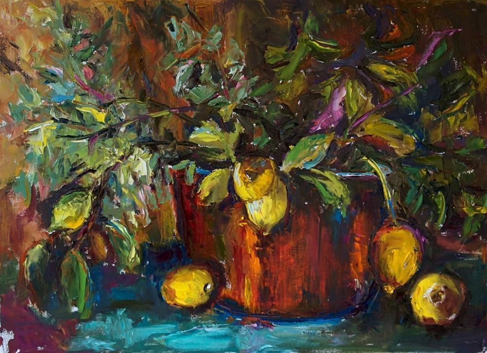 """Etude with Lemons"" original fine art by pepa sand"