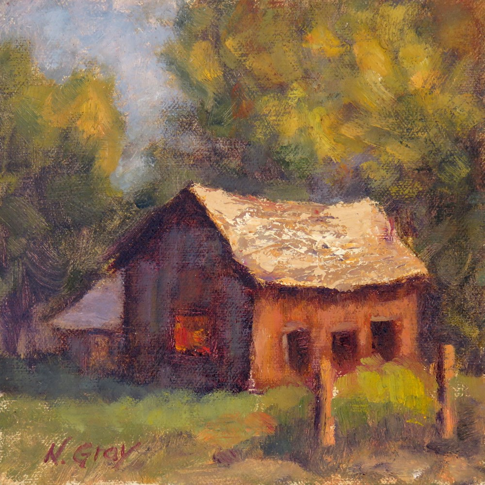"""Glow in the Old Cabin"" original fine art by Naomi Gray"