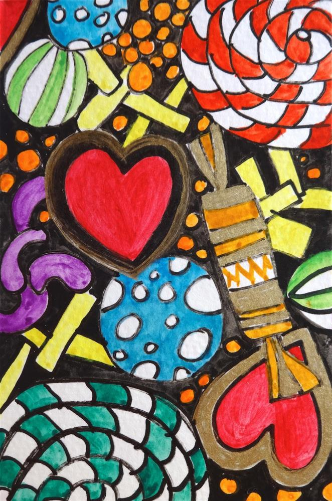 """6025 - Sweets for my Sweetie - Happy Heart II"" original fine art by Sea Dean"