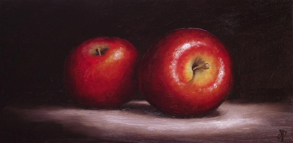 """""""Two Red Apples"""" original fine art by Jane Palmer"""