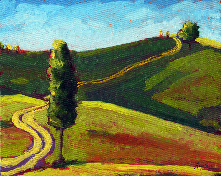 """Old Country Road"" original fine art by Linda Apple"