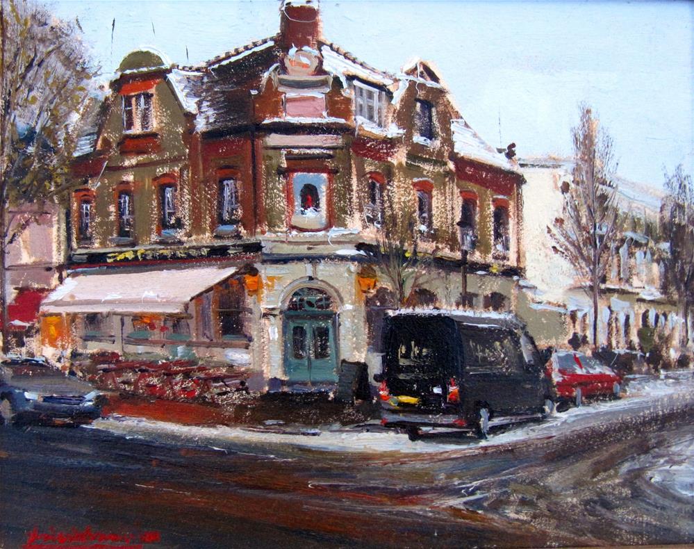 """The Chelsea Ram on a snowy day"" original fine art by Adebanji Alade"