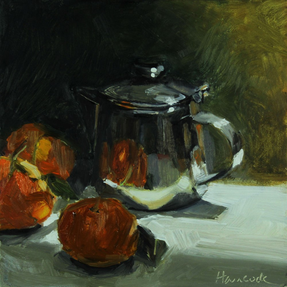 """Silver Pot and Oranges in Backlight "" original fine art by Gretchen Hancock"