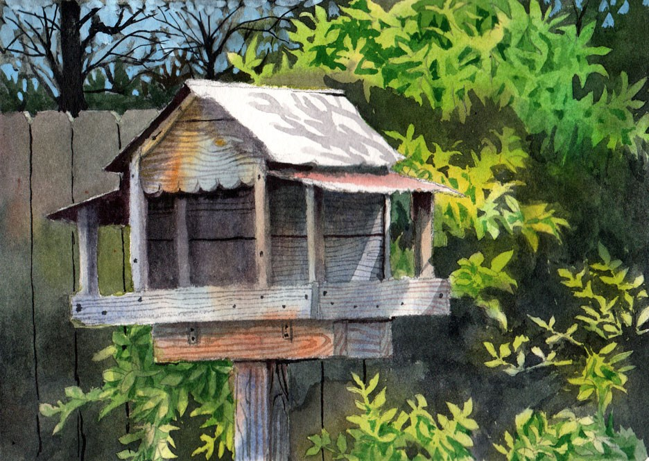 """Backyard Bird Feeder"" original fine art by Jeff Atnip"