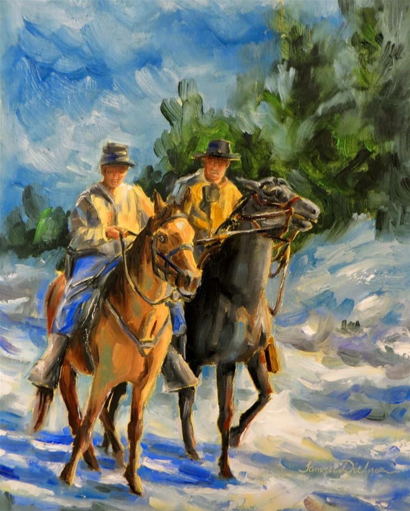"""Two Riders in the Snow"" original fine art by Tammie Dickerson"