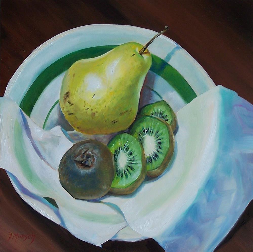 """""""Pear Kiwi Slices"""" original fine art by Donna Munsch"""