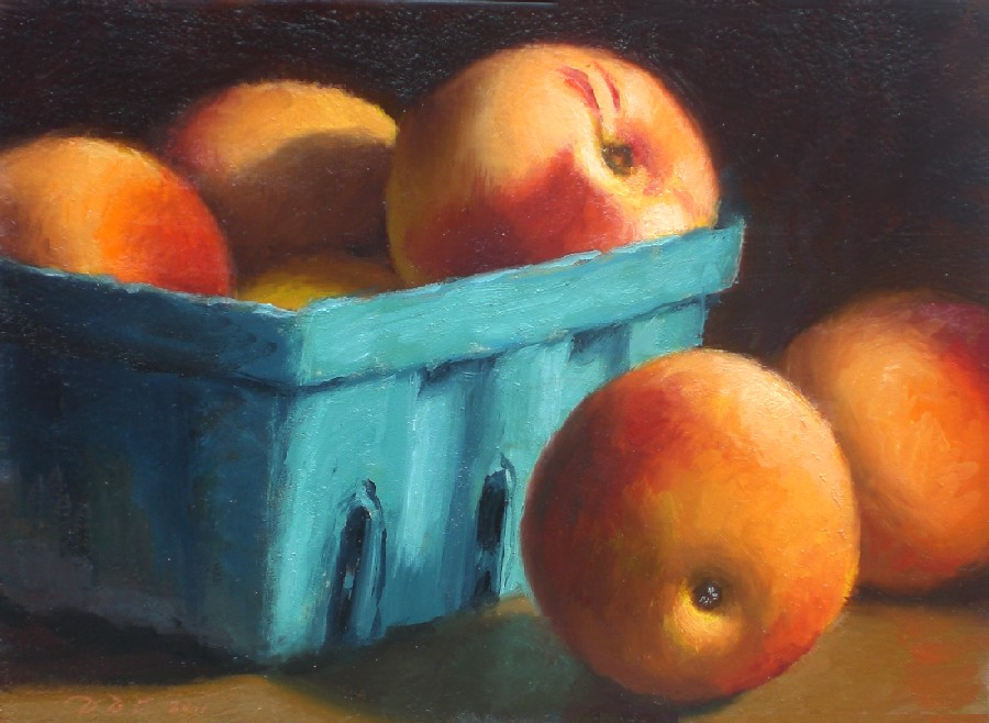 """Ripe Peaches"" original fine art by Debra Becks Cooper"