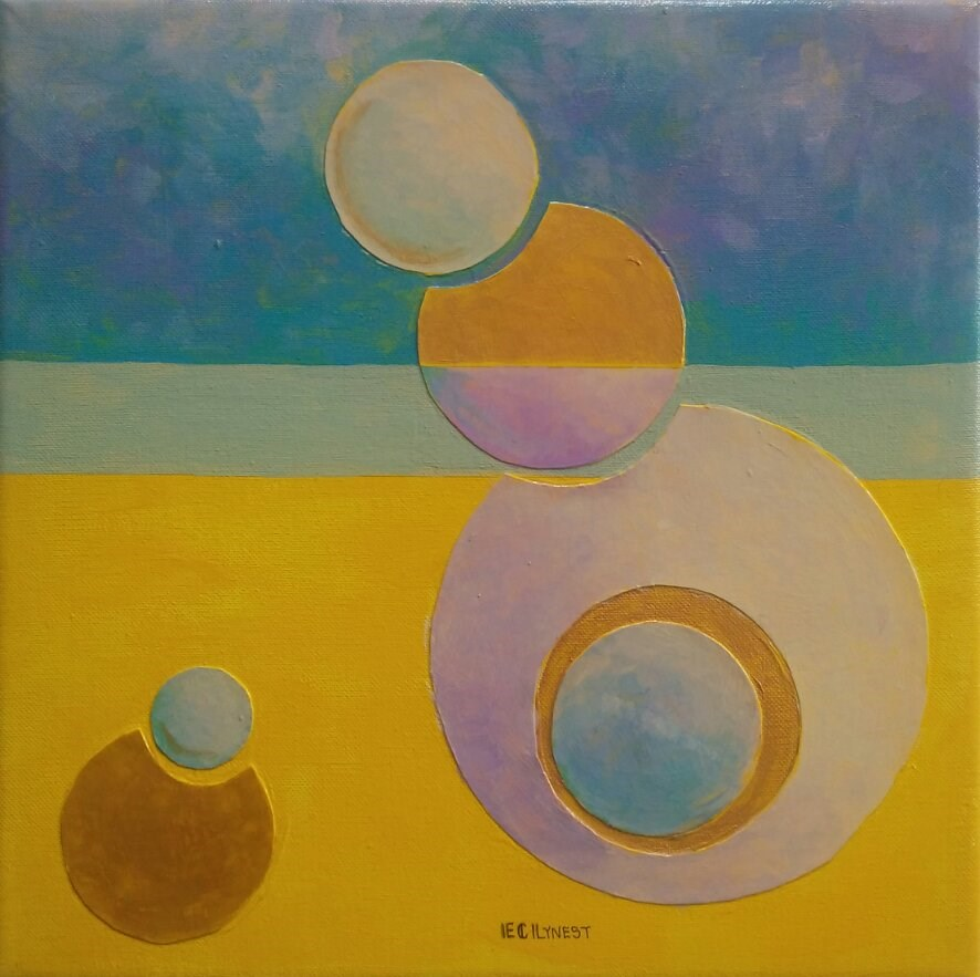"""""""Yellow and Gold Composition"""" original fine art by Elaine Lynest"""