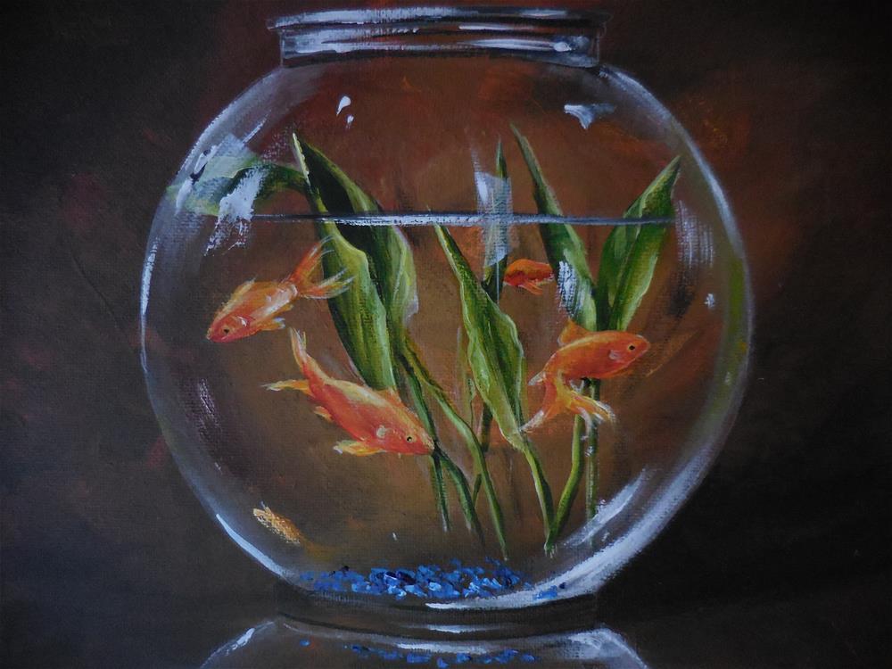 """Goldfish in a Bowl"" original fine art by Terri Nicholson"