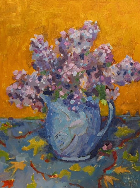 """Fresh cut lilacs in my beautiful blue faux McCoy pitcher. I chose the yellow background to compliment the table cloth and the lavenders and blues in the painting"" original fine art by Mary Sheehan Winn"