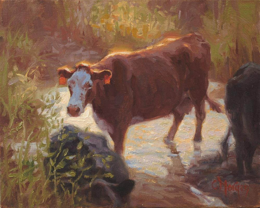 """How Now"" original fine art by Cecile W. Morgan"