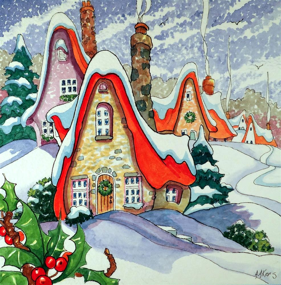 """Tis the Season Storybook Cottage Series"" original fine art by Alida Akers"