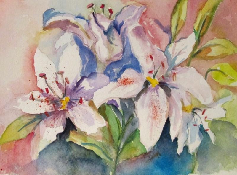"""Star Gazer Lililies"" original fine art by Delilah Smith"