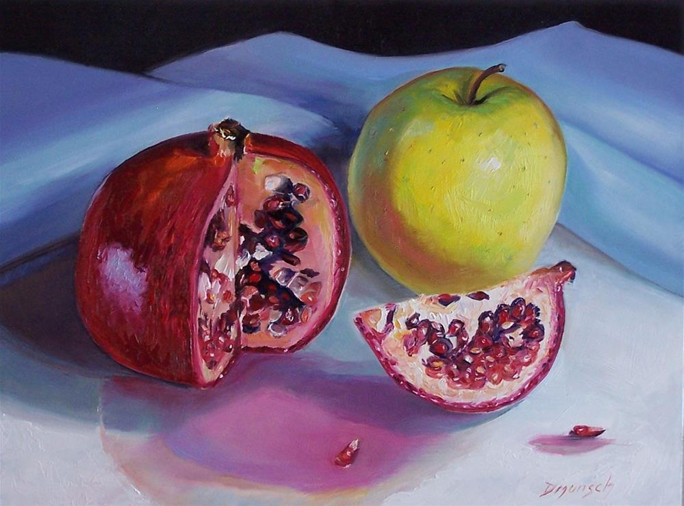 """Pomegranate and Apple"" original fine art by Donna Munsch"