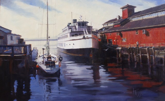 """""""Seattle Waterfront  The Argosy, Seattle city painting by Robin Weiss"""" original fine art by Robin Weiss"""