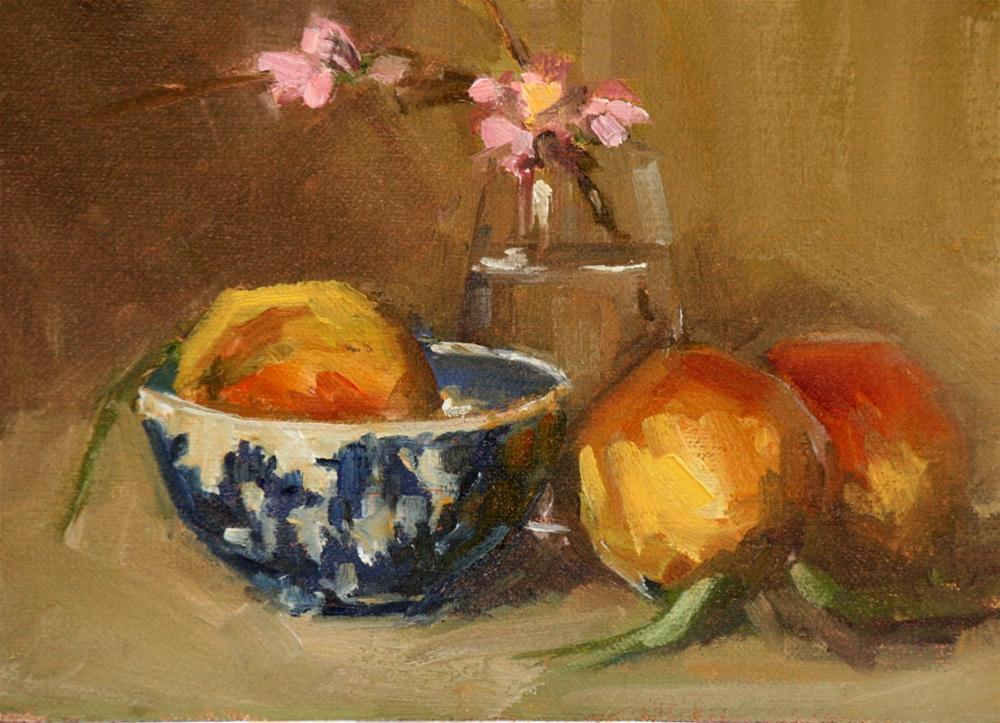 """peaches and wedgewood"" original fine art by Carol Carmichael"