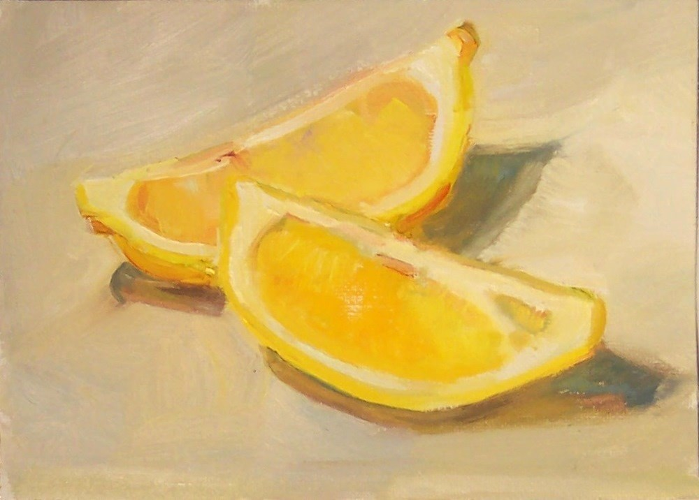 """Tea Lemons,still life,oil on canvas,5x7,price$200"" original fine art by Joy Olney"