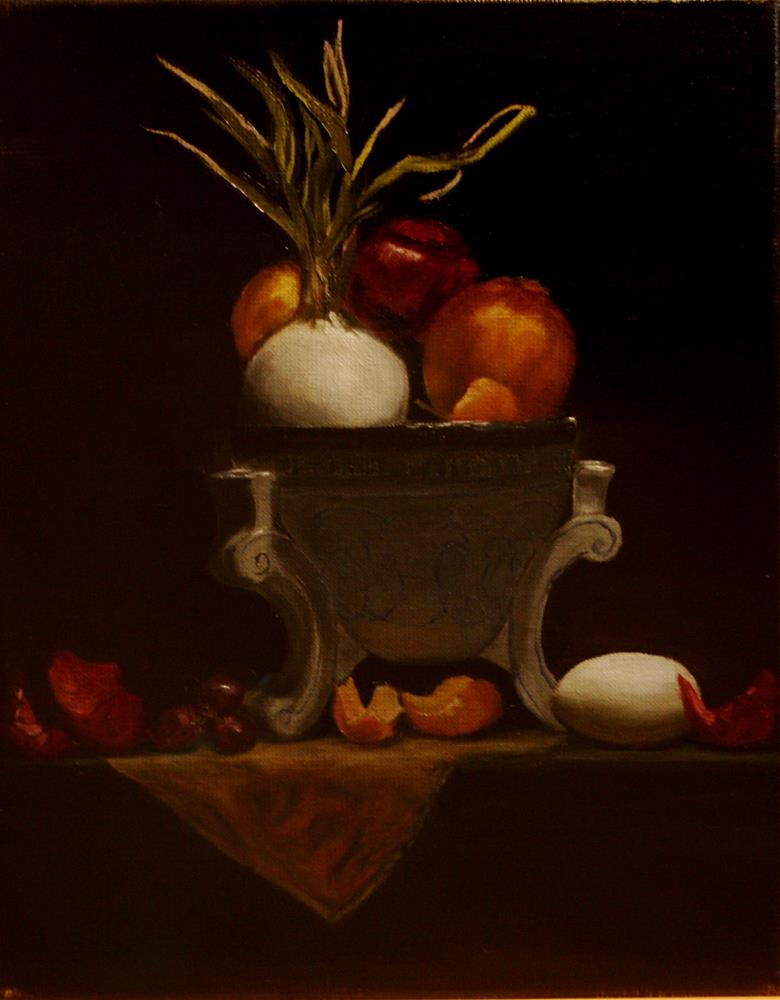 """""""Onions and Egg"""" original fine art by Mary Datum"""