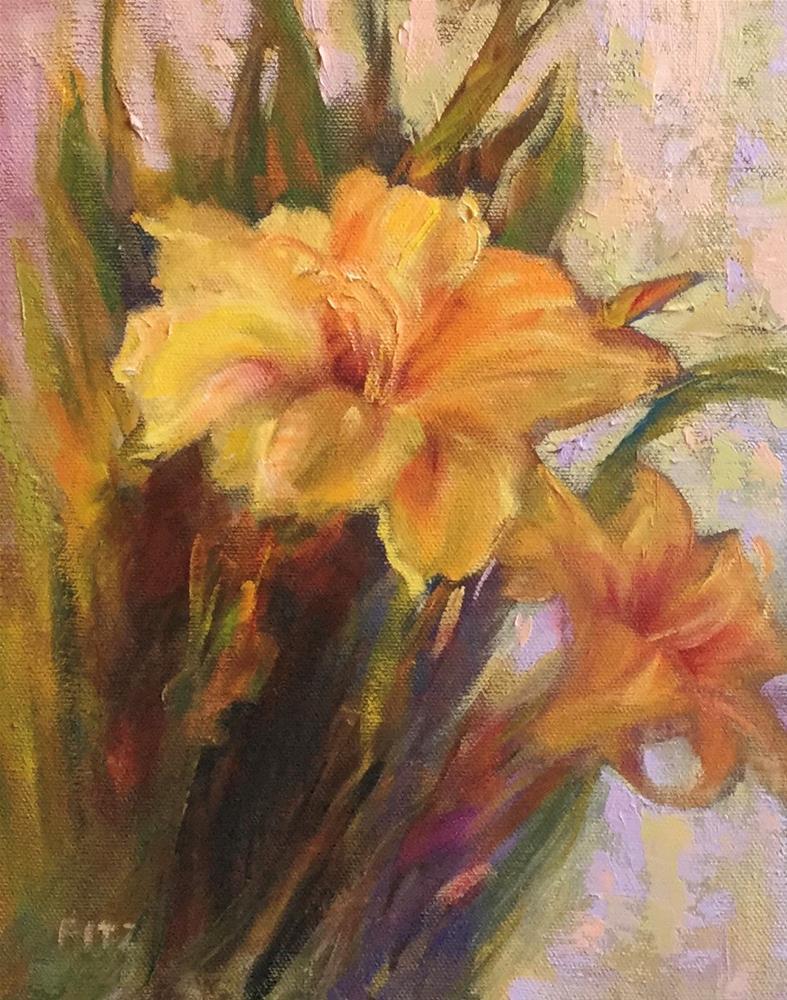 """""""Yellow Daylilies"""" original fine art by Charlotte Fitzgerald"""