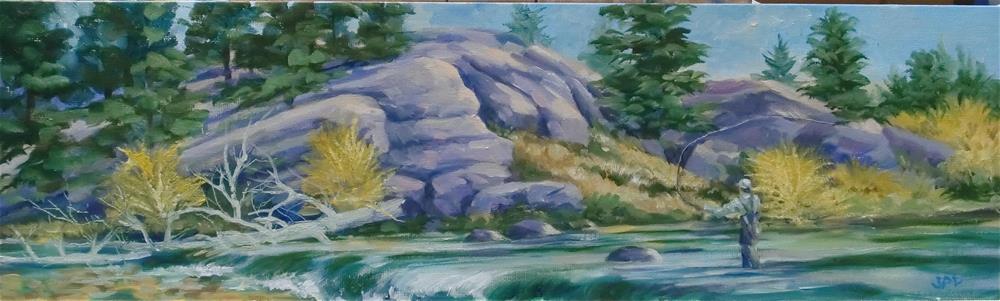 """Fisherman on the 11 Mile Canyon"" original fine art by Jean Pierre DeBernay"