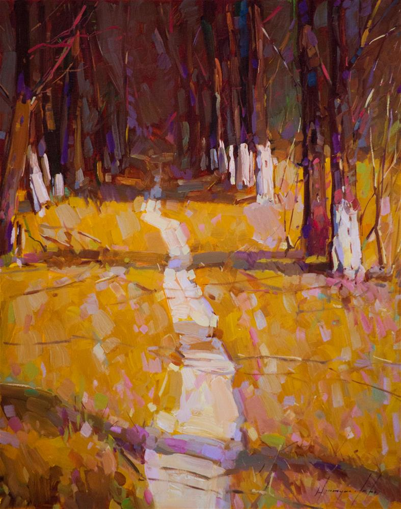 """""""Through the Forest Landscape oil Painting One of a kind"""" original fine art by V Y"""