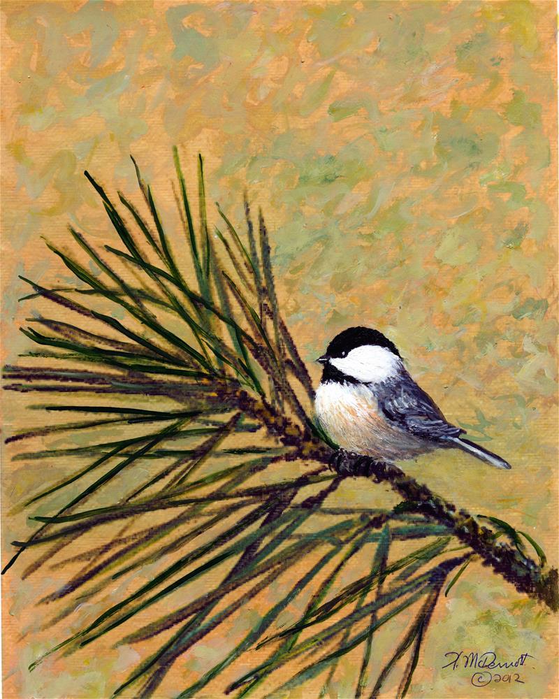"""Pine Branch Chickadee - Bird 2 (C) 2006 by K. McDermott"" original fine art by Kathleen McDermott"