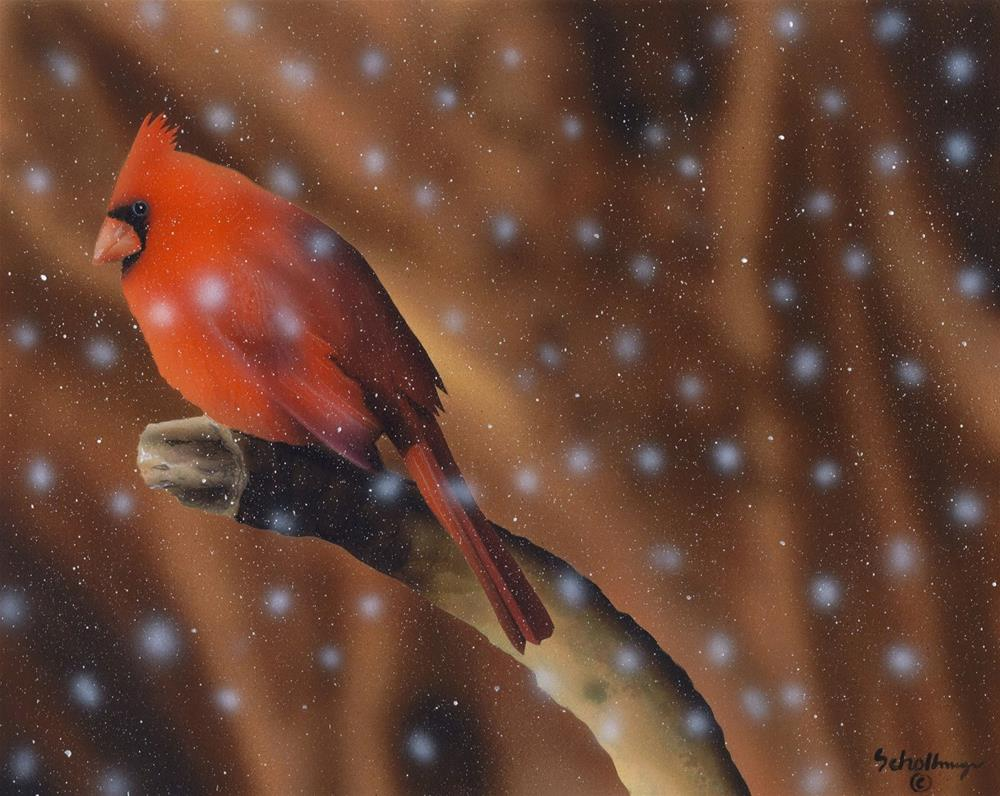 """Snowy Wait"" original fine art by Fred Schollmeyer"