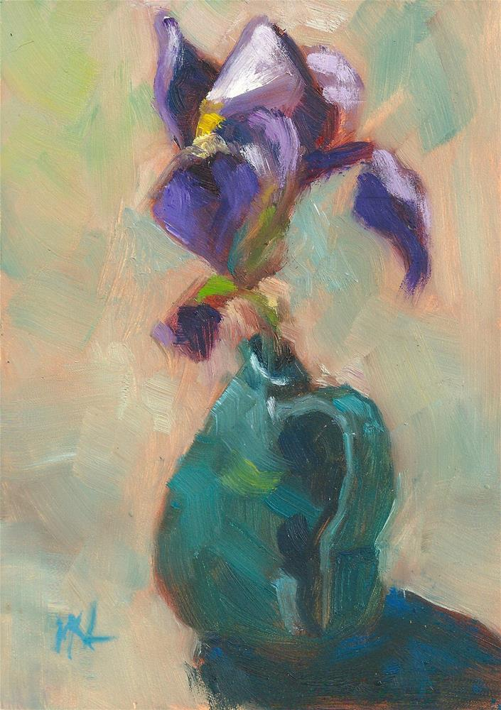 """Iris in a Blue Vase"" original fine art by Marlene Lee"