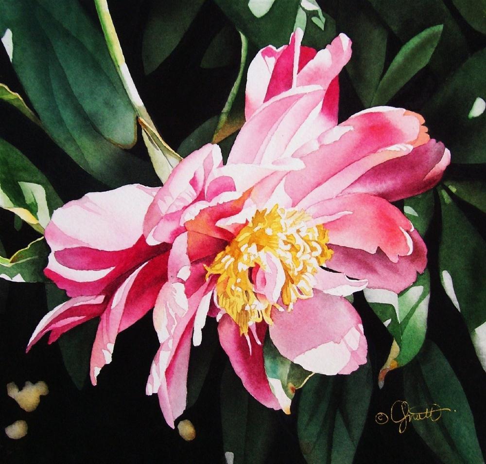 """Cascading Peony"" original fine art by Jacqueline Gnott, TWSA, WHS"