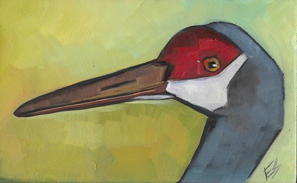 """Sandhill Crane On Wooden Block RESERVED for Burke"" original fine art by Elizabeth See"
