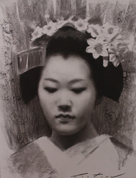 """""""Tomitae Charcoal Study"""" original fine art by Phil Couture"""