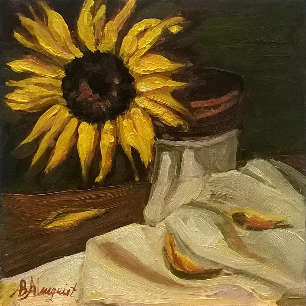 """""""Sunflower on White Cloth"""" original fine art by Adriana B. Almquist"""