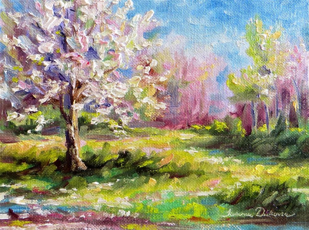 """Bradford Pear in Spring"" original fine art by Tammie Dickerson"