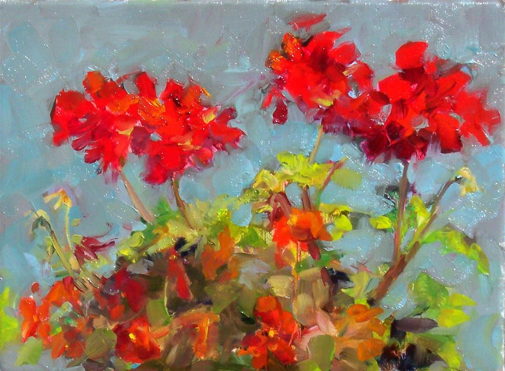 """Geraniums and Pansies,still life,oil on canvas,9x12,price$300"" original fine art by Joy Olney"