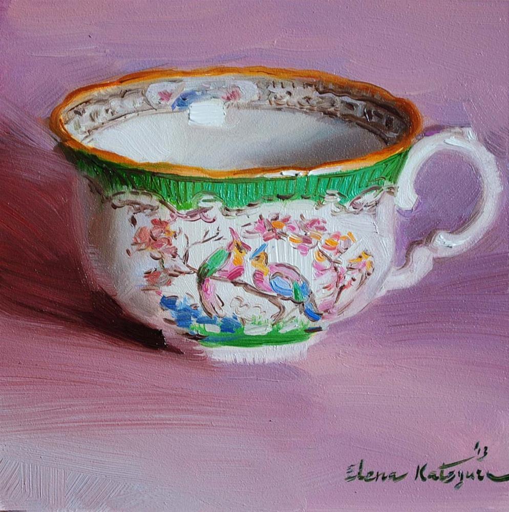 """My New Teacup"" original fine art by Elena Katsyura"