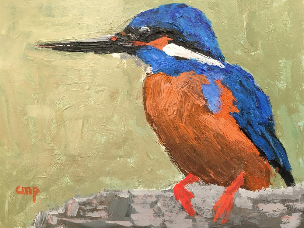 """Bird - Kingfisher"" original fine art by Christine Parker"