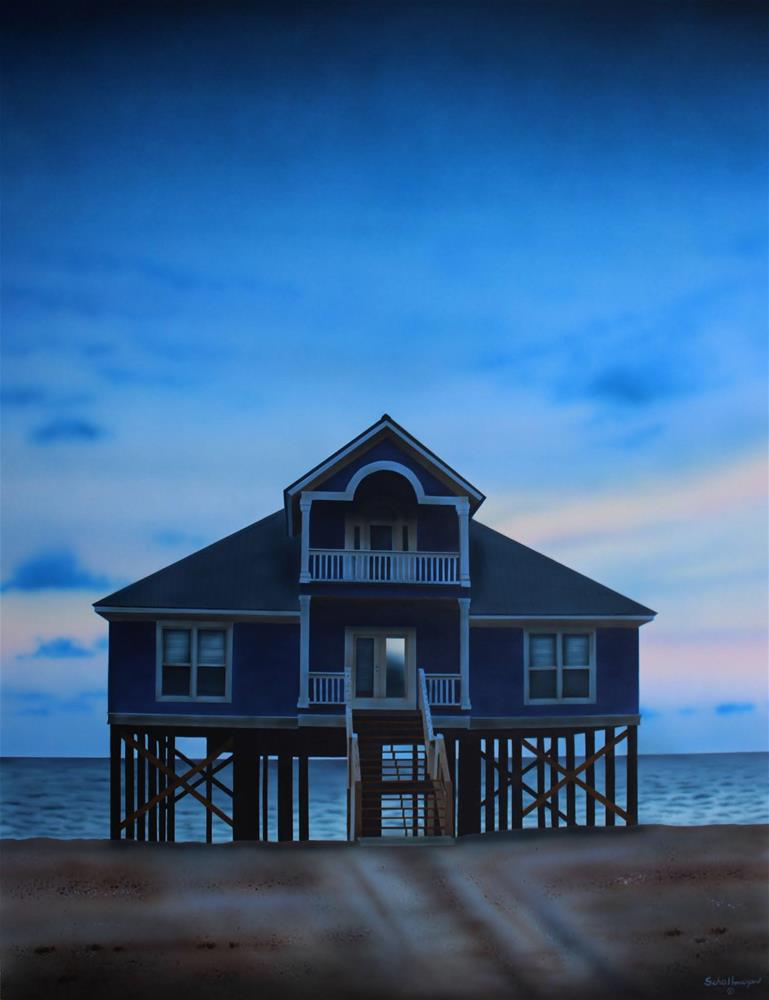 """Beach House (Late Evening)"" original fine art by Fred Schollmeyer"