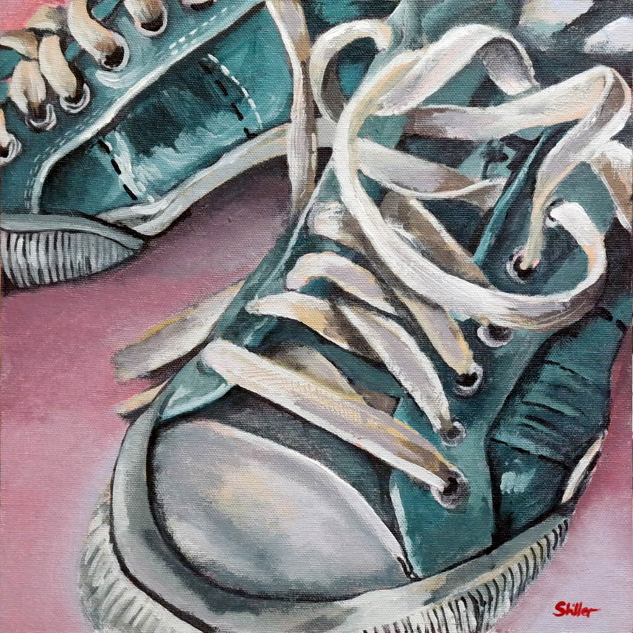 """2347 Turquoise Sneakers"" original fine art by Dietmar Stiller"