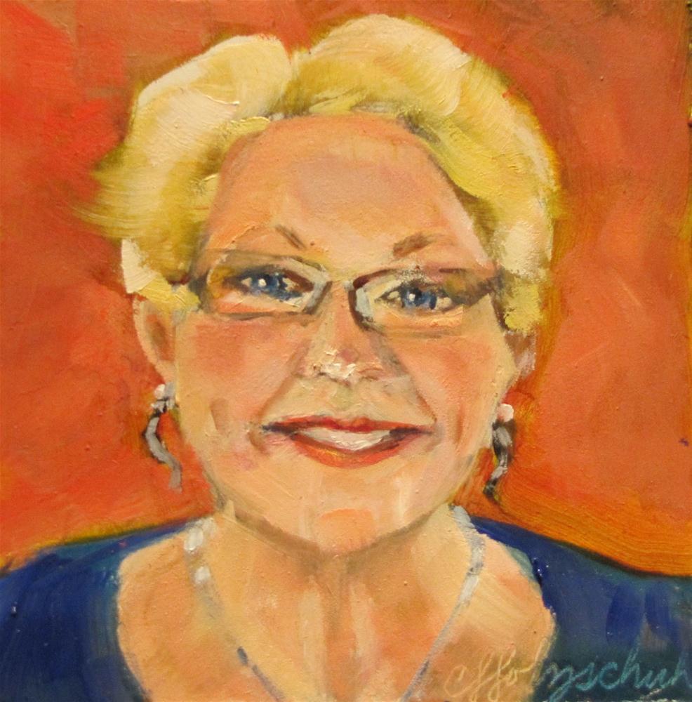 """Linda Lee 4x4 oil"" original fine art by Christine Holzschuh"