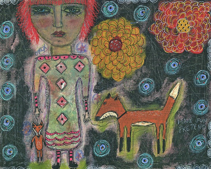 """Girl With Fox"" original fine art by Sonja Sandell"
