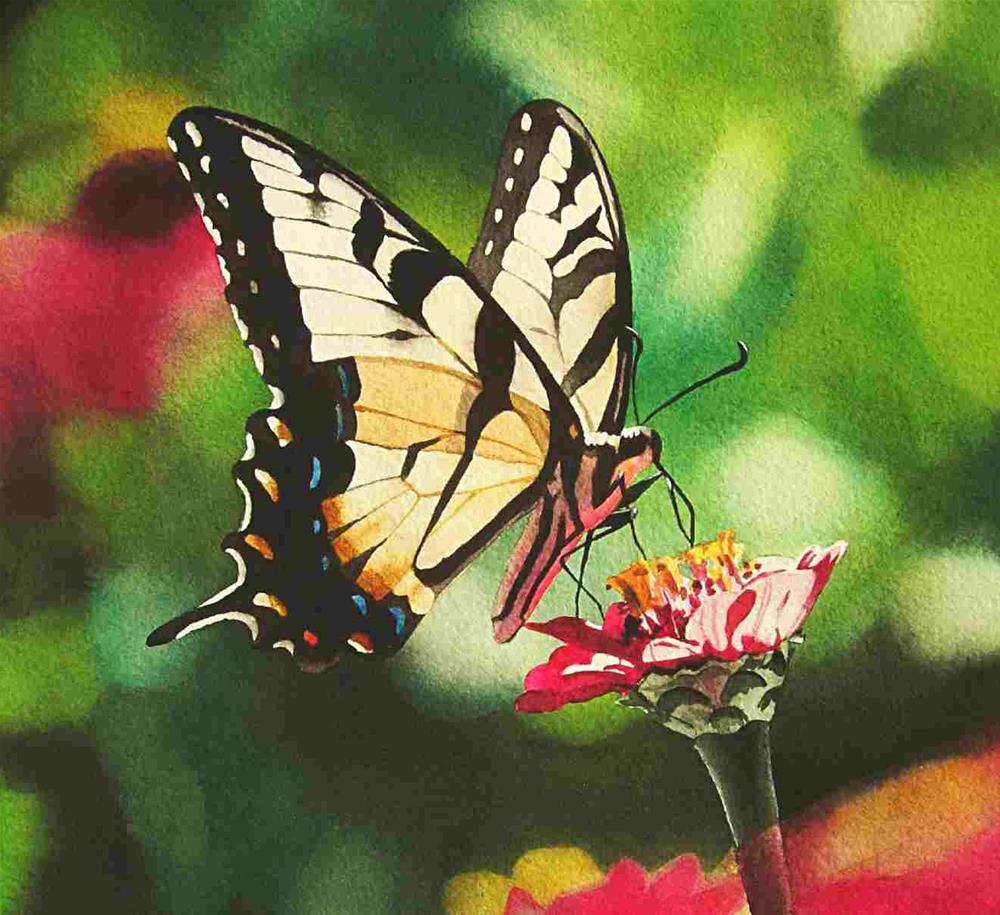 """Tiger Swallowtail"" original fine art by Jacqueline Gnott, TWSA, WHS"