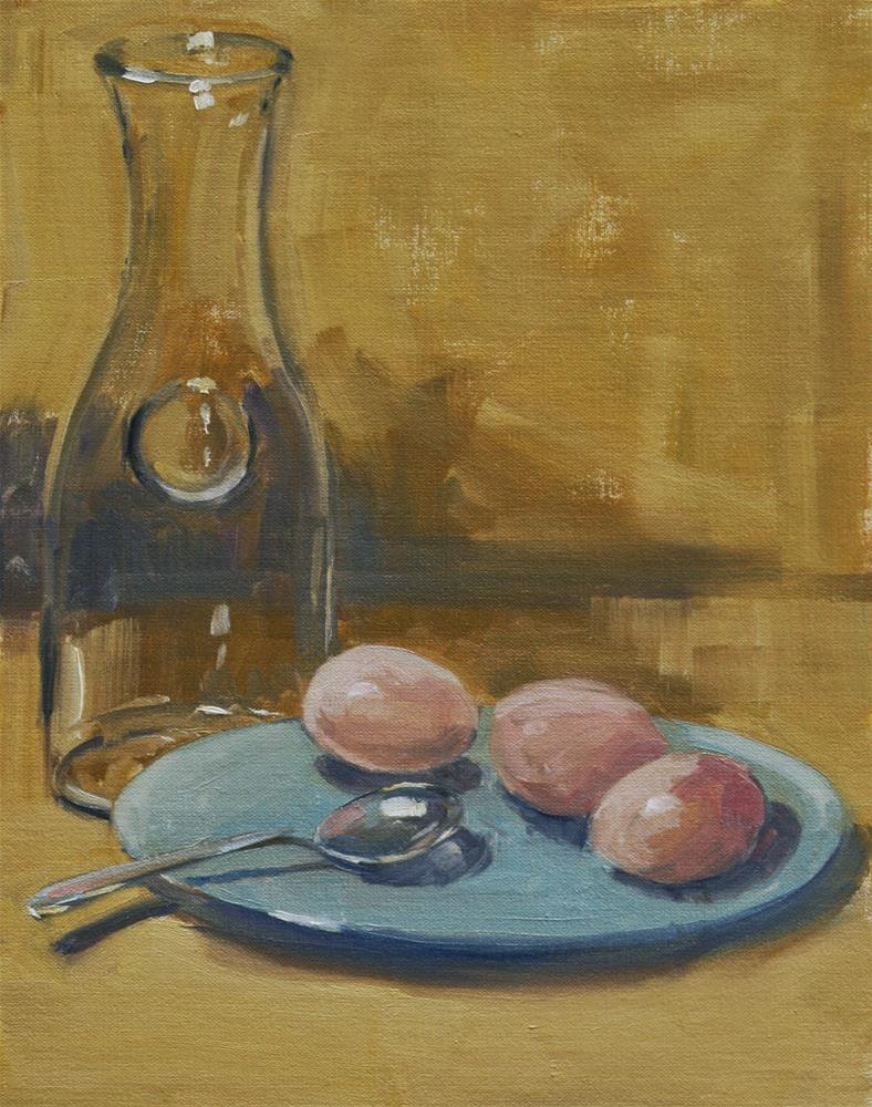 """new eggs, old spoon"" original fine art by Carol Carmichael"