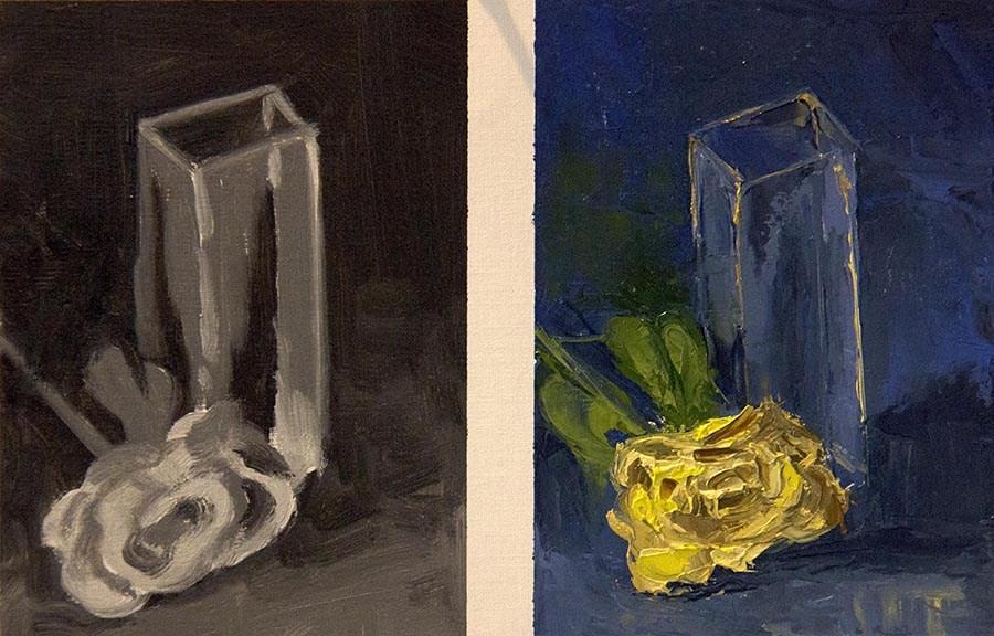 """Rose & Vase - Day 2"" original fine art by Daryl Lyn King"