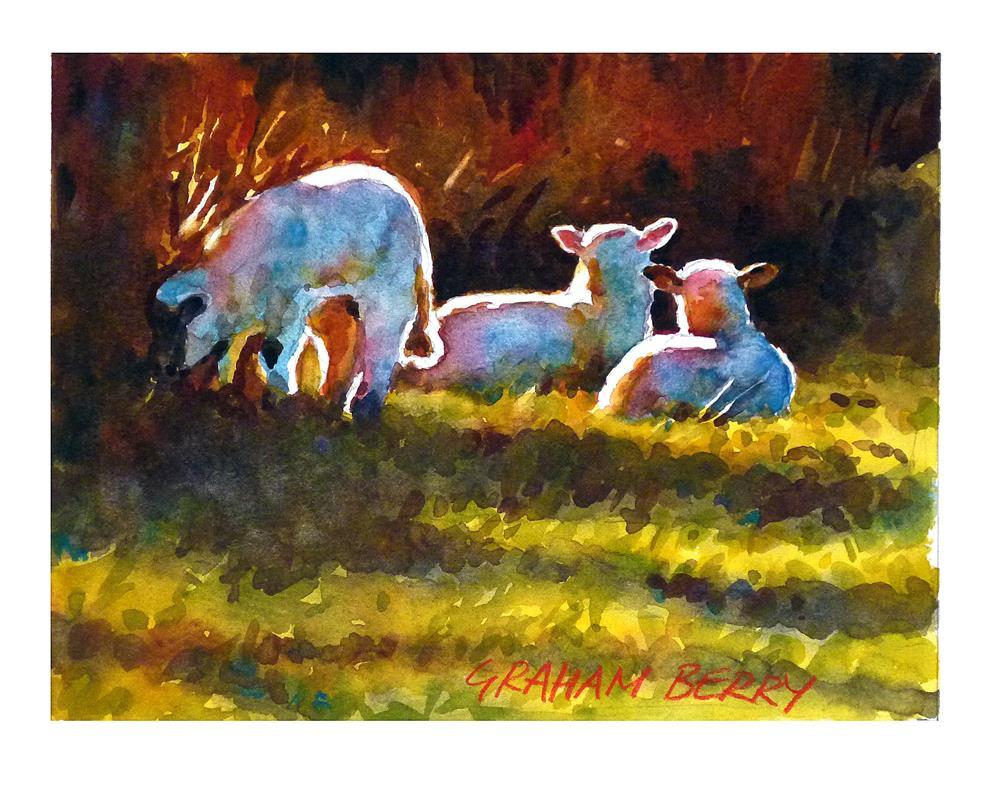 """Spring lambs."" original fine art by Graham Berry"