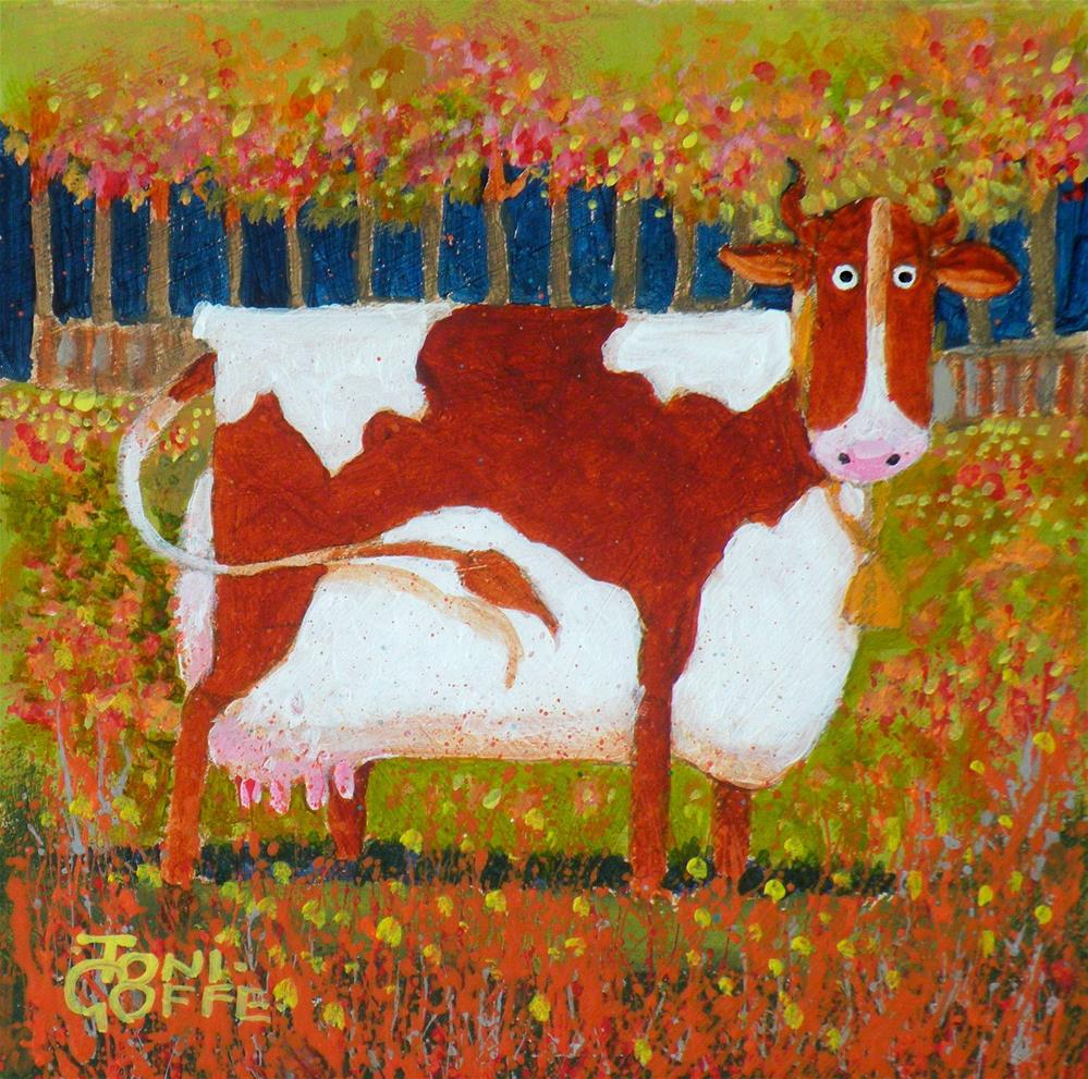 """Autumn Cow"" original fine art by Toni Goffe"