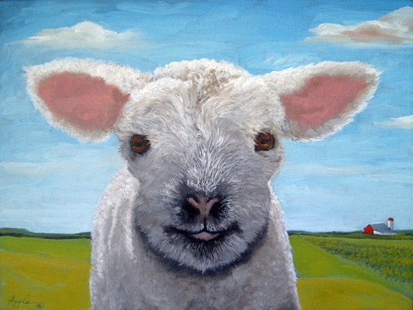 """Happy Day - sheep lamb animal landscape"" original fine art by Linda Apple"